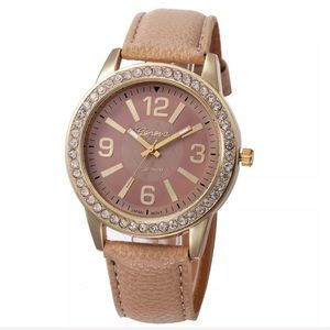 Women's Geneva Oversized Rhinestone Face Watch